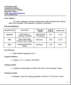 format of resume for freshers resume templates