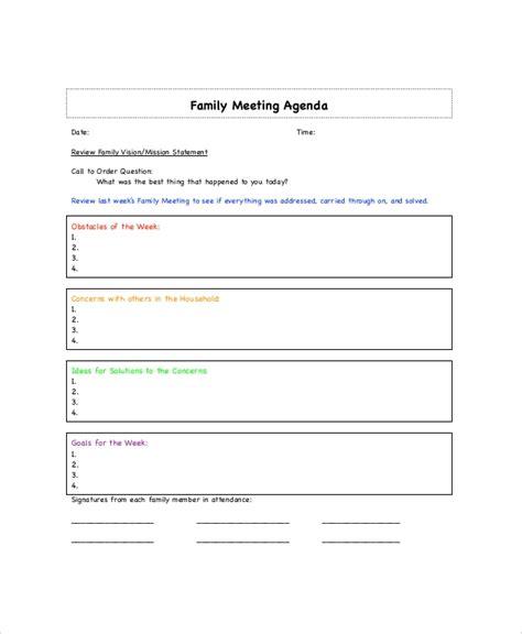family meeting agenda templates  sample