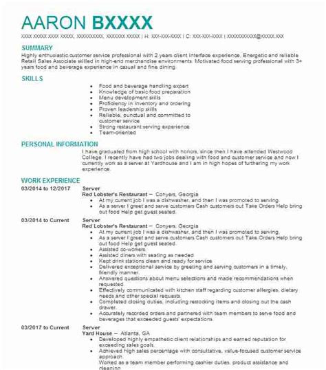 Exle Of A Server Resume by Server Objectives Resume Objective Livecareer