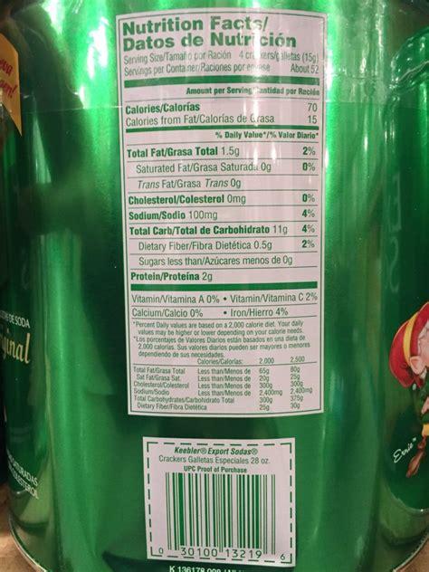 keebler export soda crackers nutrition facts harvey  costco
