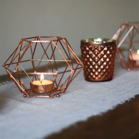 copper candle holders copper geometric candle holder by the wedding of my dreams