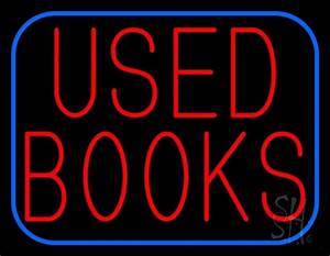 Used Books With Blue Border Neon Sign Books Neon Signs