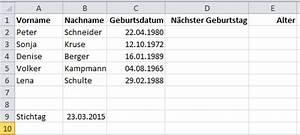 Alter Berechnen Zu Bestimmten Zeitpunkt : geburtstagsliste in excel it service ruhr ~ Themetempest.com Abrechnung