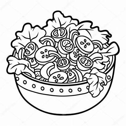 Salad Bowl Coloring Vegetables Children Illustration Clipart