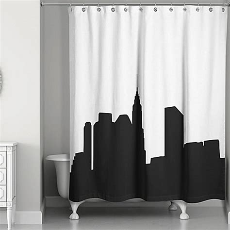 black and white shower curtains city skyline shower curtain in black white www