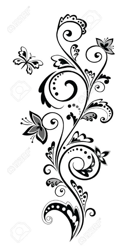 black  white flower border clipartioncom