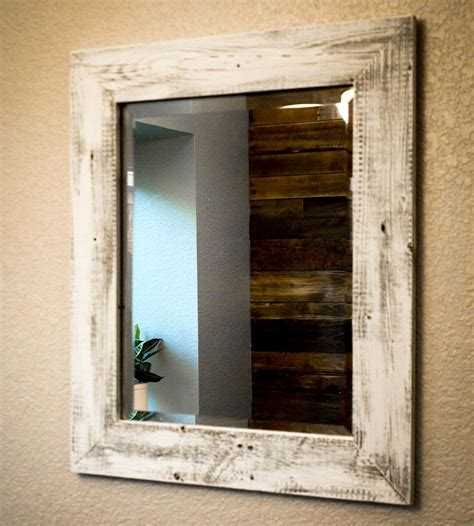 White Wood Bathroom Mirror by Whitewashed Reclaimed Wood Mirror In Home Decor By