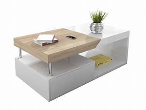 Table Basse Blanc Bois : table basse relevable blanc laque ~ Teatrodelosmanantiales.com Idées de Décoration