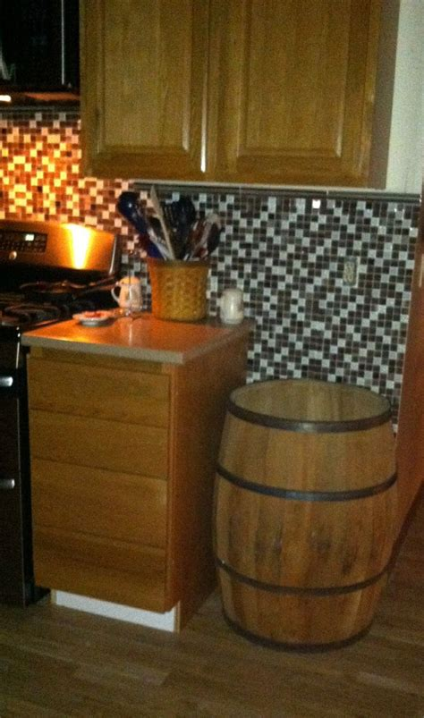Whiskey Barrel Kitchen Trash Can