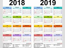 Yearly Calendar 2019 2018 calendar printable
