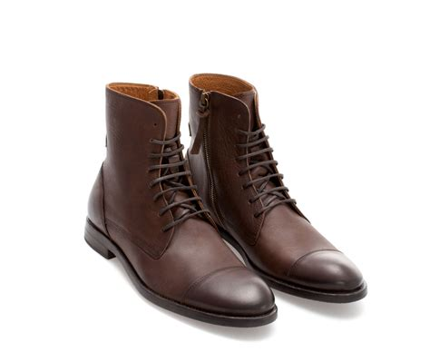 Brown Boat Shoes Zara zara leather captoe boot in brown for lyst
