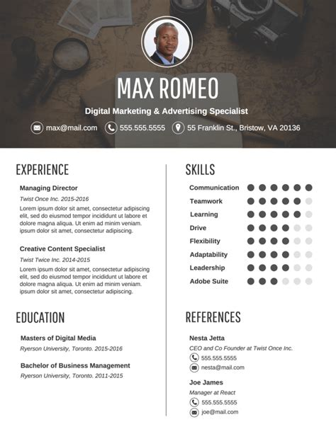 Contemporary Resume Templates by Contemporary Professional Resume Template Venngage