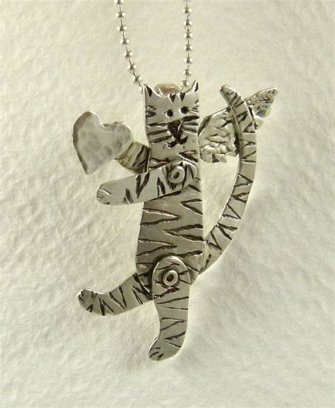 Up Cycled Sterling Cat Pendant - Cat Angel Stella Shares