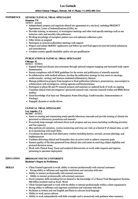 Clinical Documentation Specialist Resume by Clinical Trial Specialist Resume Sles Velvet