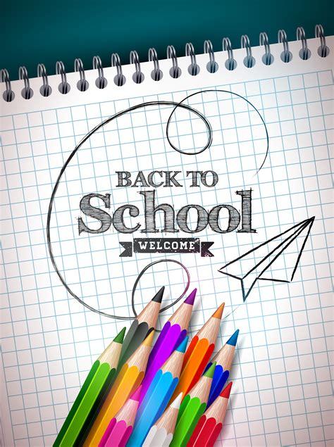 school design  colorful pencil  notebook