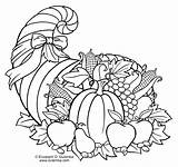 Cornucopia Coloring Thanksgiving Pages Printable Adult Fall Turkey Printables Fruit Craft Dulemba Colouring Sheets Books Activities Happy Getcolorings Rhonda Tuesday sketch template