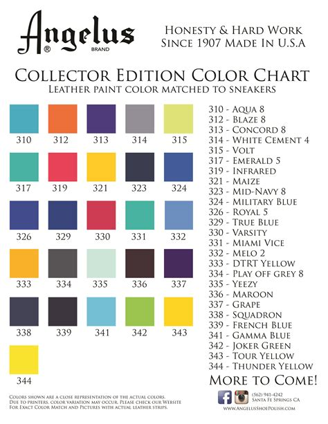 Leather Dye Color Chart