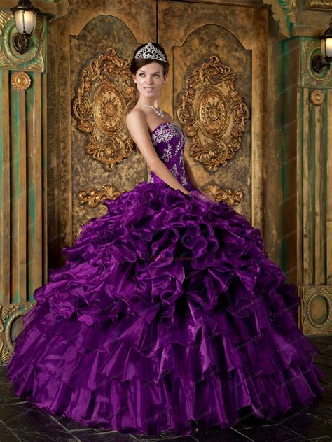 top designer cascade skirt pansy purple quinceanera gowns