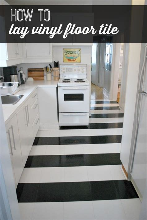how to lay vinyl black and white flooring (in stripes