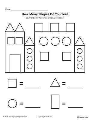 recognize and count the shapes in the castle worksheets