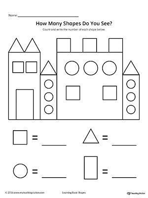 recognize and count the shapes in the castle worksheets shapes worksheet kindergarten