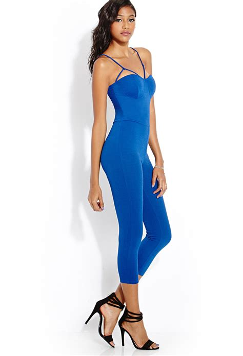 jumpsuit forever 21 forever 21 bombshell cutout jumpsuit in blue lyst