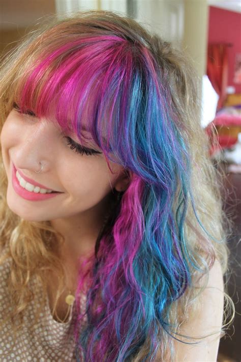 Pink And Blue Hair Blue Hair Hair Color Red Ombre Hair