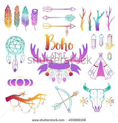 hand drawn boho design elements set wild style labels
