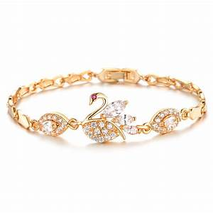 Beautiful Swan Bracelet Female Gold Plated Crystal Hand ...