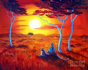 African Sunset Meditation Painting by Laura Iverson