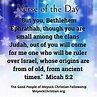 Today's Scripture comes to us from Micah 5:2 – Out of you ...
