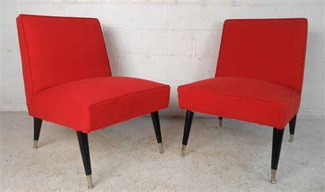pair mid century modern italian style slipper chairs for