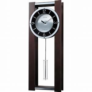 Modern pendulum wall clock in rich espresso plays 18 for Pendulum wall clock modern