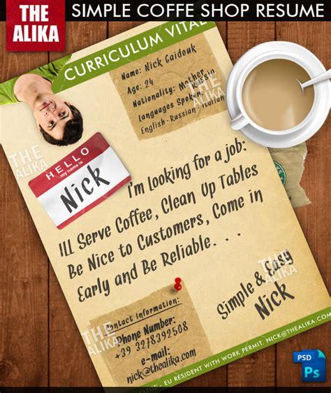 simple coffee shop resume by thealika on deviantart
