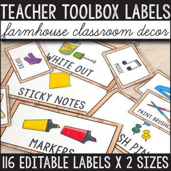 teacher toolbox labels editable farmhouse classroom