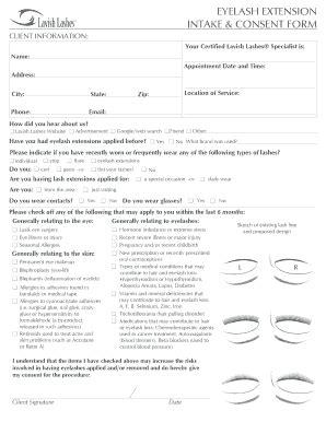 eyelash extension waiver form fillable eyelash extension consent form pdf edit online