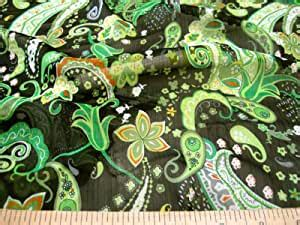 amazoncom discount fabric sheer voile green paisley