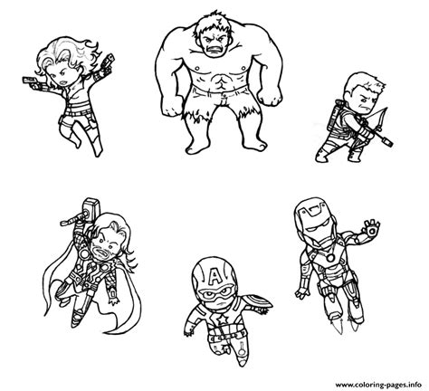 mini avengers marvel coloring pages printable