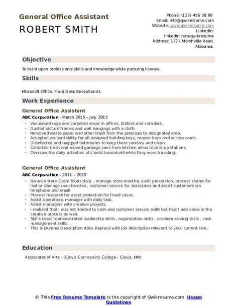 An administrative assistant resume summary provides a brief outline of your skills and qualifications. General Office Assistant Resume Samples | QwikResume