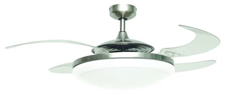 ceiling fan fanaway evo2 endure chrome brushed 122 cm 48 quot with retractable blades ceiling fans