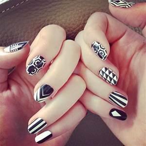 Pics photos black and white nail art