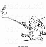Fishing Coloring Outline Cartoon Boy Rod Bucket Worms Pole Vector Pages Royalty Getcolorings Angling Printable Leishman Ron Clipart Colorin sketch template