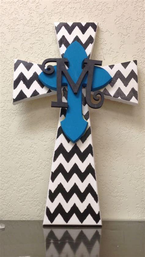 chevron hand painted wood cross