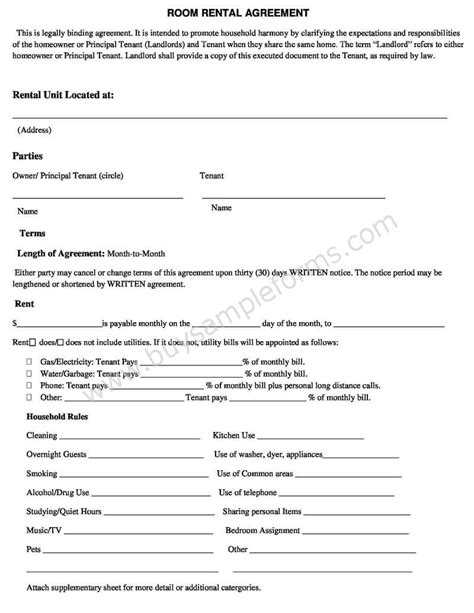 room rental agreement template word  simple rental