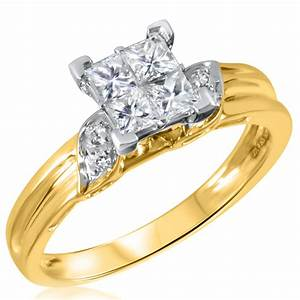 2 3 ct tw diamond women39s bridal wedding ring set 14k for Ladies diamond wedding ring sets