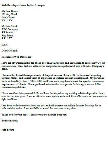 Sle Cover Letter For Java Developer by Web Developer Cover Letter Exle Charts Info Cover
