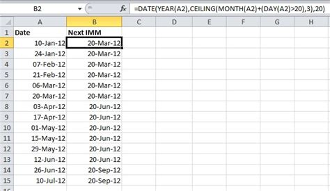 Ceiling Function Excel Vba by How To Calculate The Next Imm Date Rad Excel