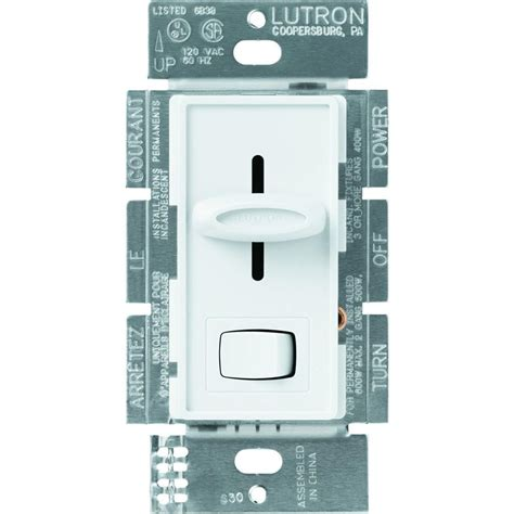 fan light switch lutron skylark 1 5 single pole 3 speed slide to