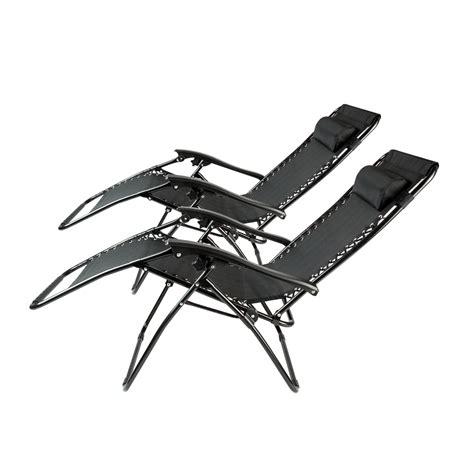 2 black zero gravity folding lounge chairs recliner