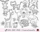 Outline Animals Safari Jungle Coloring Svg Wild Clipart Animal Elephant sketch template